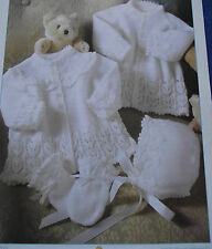 KNITTING PATTERN - 2 PRETTY BABY CARDIGANS/MATINEE JACKETS & MITTENS AND BONNET
