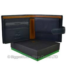 NEW Mens LEATHER Stylish Tabbed Bi-fold WALLET by Visconti Parma GIFT BOX Change