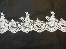 Ivory Embroidered Vintage Floral lace trim Bridal Wedding tulle trim Per Yard