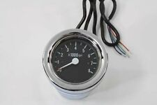 Chrome 60mm Black Electric Tach Tachometer fr Harley Sportster Softail FXST FLST