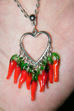 "HEART NECKLACE RED GLASS CHILI PEPPERS FILIGREE SILVER EAR WIRES! 21"" Chain NEW!"