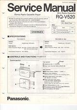 Service Anleitung Manual Heft Panasonic RQ-V520 Cassette Deck (B658)