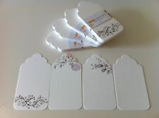 """20PCS DIY Printed WHITE """"BOOKMARKS"""" Gift Paper Tags + Free Twines"""