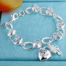 925 Sterling Silver Heart and Lock Bracelet Love and Hearts 19cm
