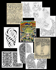 3 Tattoo Art Sketch Books Hawaii Island Tribal, Animals Flash Liner Polynesian