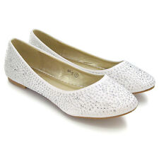 NEW WOMENS BRIDAL DIAMANTE LADIES SPARKLY SLIP ON BRIDESMAID SHOES PUMPS SIZE