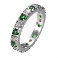 Wedding Band Ring Emerald&White Crystal Women's 14kt White Gold Filled Size 5-10