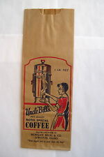 "1930's-40's Vintage ""Uncle Bill's Hotel Special Coffee"" Bag - Great Graphics *"