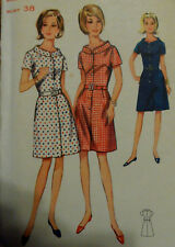 Vtg 60s Dress FF Shirtwaist Stand-away Collar Bust 38 Size 18 Butterick 4366