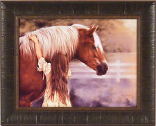 FIRST LOVE by Lesley Harrison Girl Hugging Horse Pony 17x21 FRAMED PRINT PICTURE