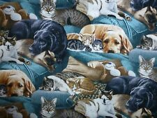 DOGS CATS Fabric Fat Quarter Cotton Craft Quilting Kittens & Puppies