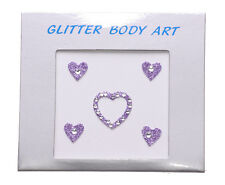 Purple Ladies Cute Heart Rhinestone Glitter Vajazzle Body Art Kinky (Zx62/124)