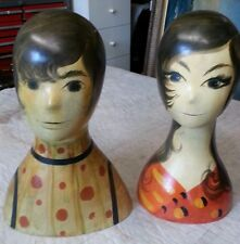 Rare Pair of Mod Mid Century Hat Millinary Stands Carnaby Street Hand Painted