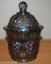 PURPLE AMETHYST CARNIVAL IMPERIAL GLASS CANDY COOKIE NUT CONTAINER WITH LID