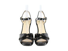 Prada Black Patent Strappy Wedge Heel Shoe Size 8.5
