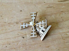 Vintage Retro Toledo Ware Damascene Dutch Moving Windmill Brooch