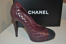 NIB $895+ CHANEL 12A Quilted Leather Cap Toe Pump Heel Shoe Burgundy Blue 39.5