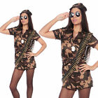 Adult UK 8-16 Camo Army Girl Soldier Fancy Dress Costume Sexy Ladies Womens