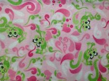~FLANNEL~ Frogs~ Quilting ~Green~Pink~Swirls~ Fabric~ Girls~Flannelette~Baby~ FQ