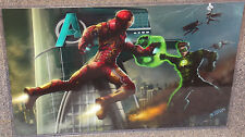 Iron Man vs Green Lantern Glossy Print 11 x 17 In Hard Plastic Sleeve