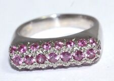 Donald Huber 18ct White Gold Pink Sapphire Stack Ring Size N