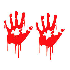 2pcs Halloween Room SUV Car Body Window Decor Red Bloody Hand Reflective Sticker