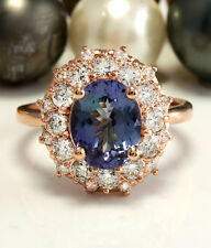 3.60CTW Natural Blue Tanzanite and DIAMOND in 14K Solid Rose Gold Women Ring