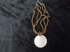 "BEAUTIFUL SMALL BROWN BEAD NECKLACE WITH LG WHITE 2 3/4"" SHELL 10"" LONG INC SHE"