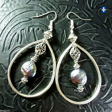 ♥ Stunning Genuine Natural Baroque Coin Pearl Plated Silver Hoop Earrings