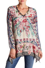 NWT $230 Johnny Was Tribeca V-Neck Floral Silk Printed Blouse Top Long Tunic 1X