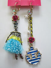 NWT Auth Betsey Johnson Skeleton Sailor Anchor Mismatch Nautical Dangle Earrings