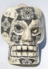 DAY OF THE DEAD HALLOWEEN SKULL MASK  AAC = HAND CARVED =GUATEMALAN FOLK ART