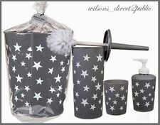 4Pc Grey Bathroom Accessory Set With White Stars Toilet Brush Cup Soap Trash Can