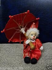 Mini Porcelain Harlequin Court Jester Perriot Red Gold Clown Umbrella Doll Cloth