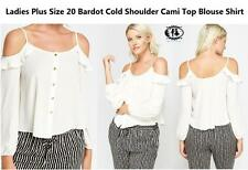 LADIES CURVE PLUS SIZE 20 CUT OUT COLD SHOULDER BARDOT TOP BLOUSE CAMI SHIRT VTG