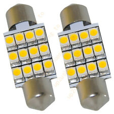 "2 x 36mm 1.50"" Warm White LED DOME Festoon Light 12 3528-SMD LED per Bulb 6411"