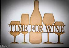 """3mm Wooden MDF Laser Cut Blank Craft Sign/Plaque/Quote """"Time For Wine"""""""