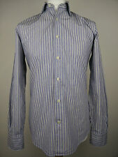 Boggi Milano Men's Blue White Grey Striped Italian Long Sleeve Shirt Size Medium