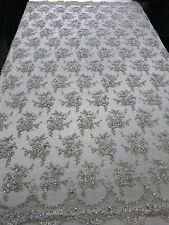 """Silver Bridal Floral Mesh w/ Embroidery Beaded Lace Fabric-50"""" -Sold by the yard"""