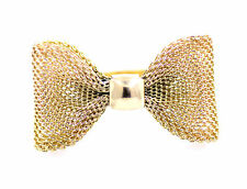 Large 3.5cm x 2cm gold coloured mesh bow ring UK Size K, US Size 6