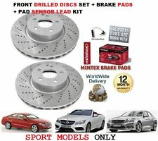 FOR MERCEDES E CLASS E250 SPORT 2009-  FRONT DRILLED BRAKE DISCS SET + PADS KIT