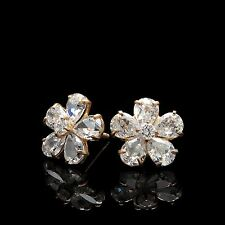 2CT Pear Cut Simulated Diamond Cluster Earrings 14K Yellow Gold Studs Screwback
