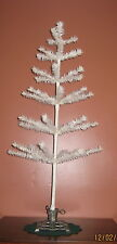 "Excellent 36"" WHITE Real FEATHER TREE with SILVER VINTAGE-STYLE CAST IRON BASE"