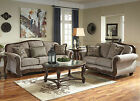 CAMILLE-Traditional Wood Trim Brown Fabric Sofa Couch Set Living Room Furniture