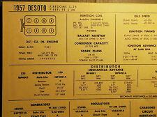 1957 DeSoto Firedome & Fireflite 341 CI V8 SUN Tune Up Chart Superb Condition!