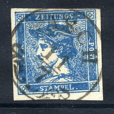 AUSTRIA 1851 Blue Mercury (0.6 Kr.) newspaper stamp, used. Michel 6