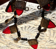 Niger Tuareg red hand engraved necklace + agate beads + earrings jewellery set