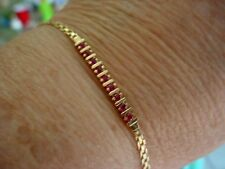 TEEN YOUNG  LADY RUBY 14K YELLOW GOLD tennis BRACELET  BOXED NEVER WORN W/ TAG