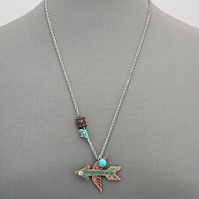 Silver Chain Religious Copper Patina Hammered Arrow Wing Pendant Necklace