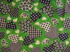 cotton fabric material vintage 70s mod green blue hearts polka dot BY THE YARD